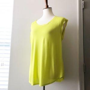 LOFT Sleeveless Highlighter Green Blouse Large